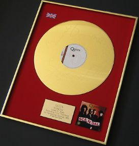 "QUEEN - Scandal - 24 Carat Gold Coated ETCHED 12"" Single presentation DISC"